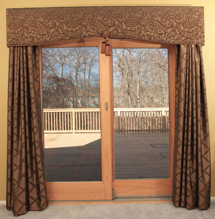 Sophisticated Window Treatment Valances For Sliding Gl Doors With Brown Curtain And Beautiful Motif