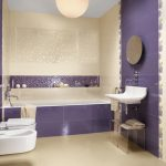 spacious and modern purple bathroom idea with wall texture of recessed cabinet and floating vanity with oval wall mirror