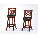 stylish brown wooden vintage  upholstered bar stool design with carved back and black leather blster and round legs