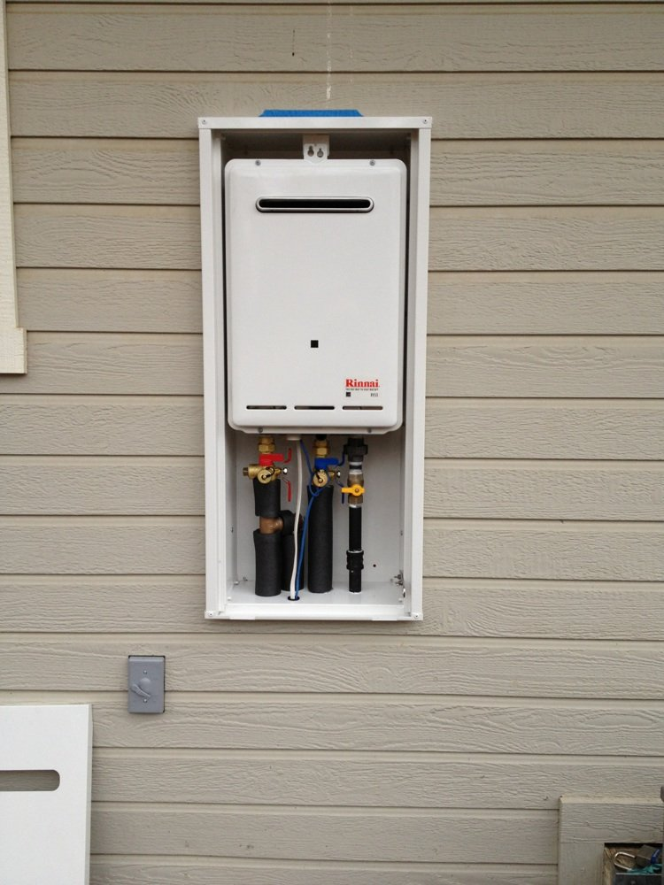 Tankless Water Heater And Outdoor Enclosure Installed On Wall