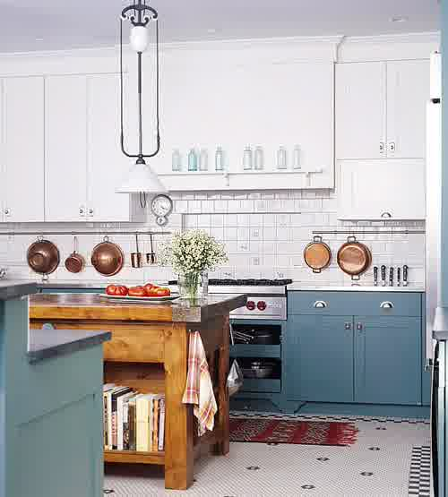 Teal Painted Kitchen Island