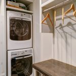 Vintage White Laundry Room Idea With Open Closet And Hangers And Storage And White Smallest Stackable Washer Dryer