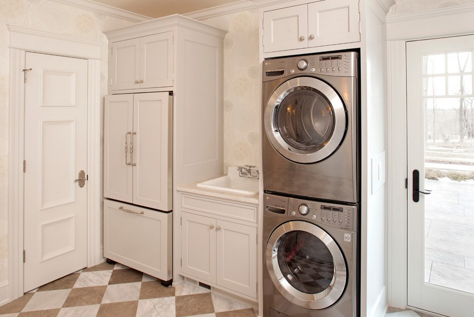 White Laundry Room Idea With Wooden Cabinetry Stainless Small Combo Washer Dryer Design Aside