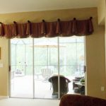 window treatment valances for sliding glass doors in brown with simple design decorated in the  living room