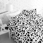Wonderful Cotton Sheet With Dalmation Pattern On The Surface With White Pillows Beneath White Brick Wall Idea Aside White Nightstand