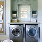 Wonderful Gray Laundry Room Idea With Stainless Steel Smallest Stackable Washer Dryer On Concrete Floor With Dustbin And Gray Cabinet