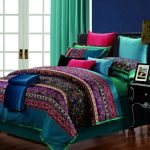 wonderful moroccan bedroom style with awesome green and ethnic patterned linen sheet with bright color accent beneath blue wall and large glass door