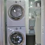Wonderful White Smallest Stackable Washer Dryer Design In White Laundry Room With Open Closet And Black Storage