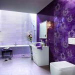 wondrous purple wall accent with rectangle wall mirror above white vanity with floating board and wonderful lighting