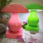 pink and green mushrom table lamp