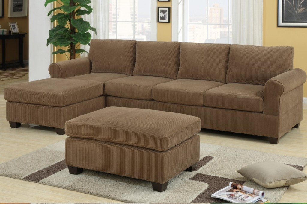 Sectional sofa deals homesfeed for Brown corduroy couch
