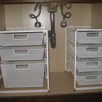Arrangements of boxes storage for under bathroom sink cabinet