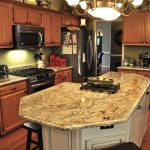 Beautiful Typhoon Bordeaux granite countertop for kitchen red wooden kitchen furniture decorative fruit antique hanging lamps red wooden floor