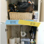 Before and after reorganizing under bathroom sink storage