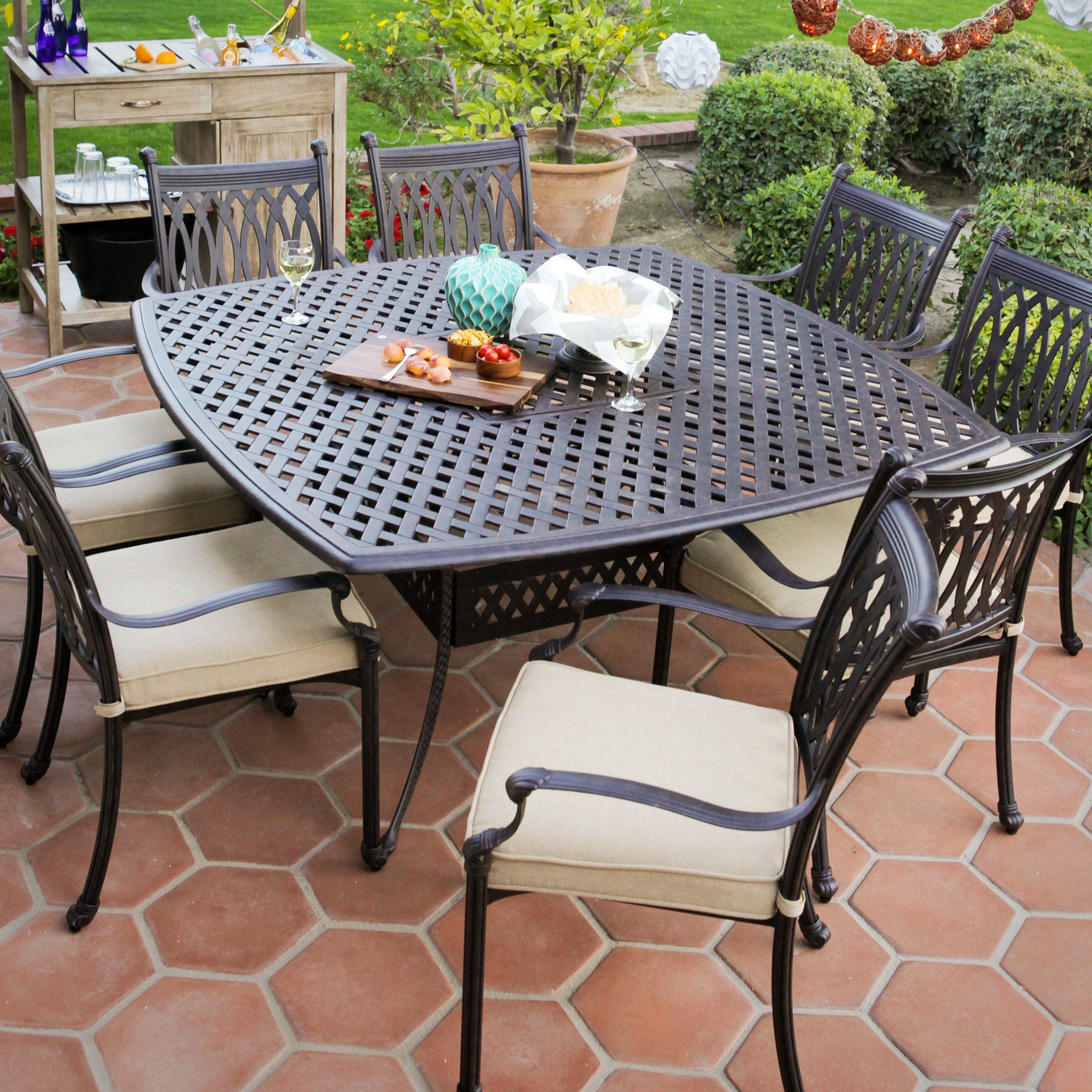 Black Metal Patio Close Out Furniture With Cushion