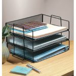 Black metal wire file organizer as the part of tips how to decorate an office