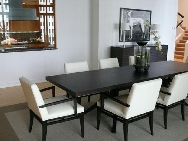 Black Stained Wood Narrow Dining Table Simple White Chairs