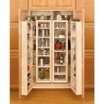 Built in wood closet storage for organizing a lot of kitchen supplies