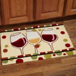 Cool and creative kitchen mat idea picturing three wine glasses