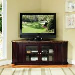 Corner TV console with glass door cabinet underneath a flat TV unit white area rug for entertainment room with strips pattern a decorative plant with rattan pot large glass door with trim