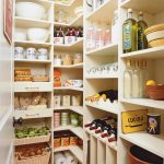 Corner closet storage idea for storing and organizing kitchen supplies