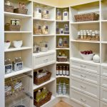 Corner white storage system in large size for storing foods and drinks