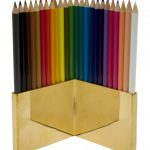 DIY colored pencil holder design in cream color with geometrical shape and various pencil