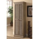 Double door  tall cabinet idea with shaby chic staining