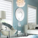 Dual concept roller shades target white pastel blue modern chic bedroom white furniture white flower design hanging lamp round white mirror classic white table lamp
