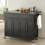 Elegant black stained wood kitchen cart with storage system and wheels
