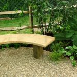 Flat and curved wood bench idea for gardens