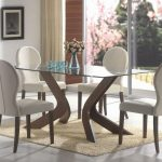 Glass top dining table idea in square shape  a set of modern white dining chairs light cream wool area rug for dining room