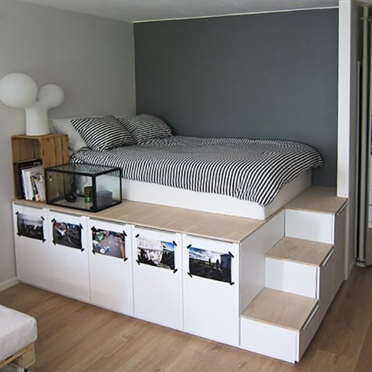 Higher Loft Bed Furniture With Stairs And Drawers Underneath White Bedding Black Strips
