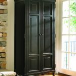 Higher wood cabinet storage design in black stain
