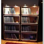 Huge open shelves for storing record collections