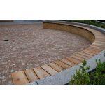 Huge wood planks bench in curve shape