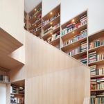 Large and modern bookshelves stairs idea