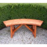 Little curved outdoor bench made of solid wood