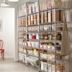 Metal shelves as pantry organizer