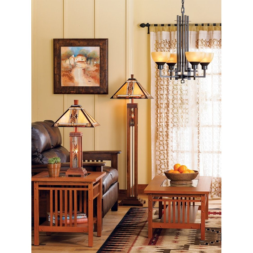 Living Room With Wooden End Table And Tiffany Lamp: Mission Style Floor Lamps: When Traditional Meets