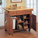 Modern block butcher kitchen cart with wheels cabinets permanent cutting board and drawers