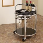 Modern wine cart in round shape with wheels