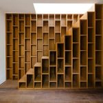 Modern wood bookcases stairs idea