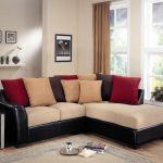 Pillow back sectional sofa with white cushion