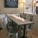 Rustic Narrow Table Grey Plastic Chairs