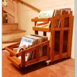 Rustic wood record organizer ideas in unique shape