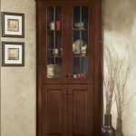 Simple classic corner hutch storage in dark stain color
