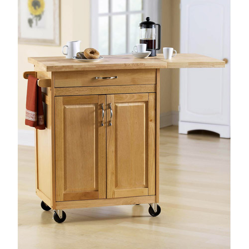 Small Kitchen Cart With Larger Wood Top And Wheels