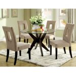 Small round glass table and modern chairs idea for dining room thicker white wool rug idea