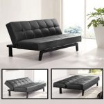 Sofa bed design in elegant black leather coat